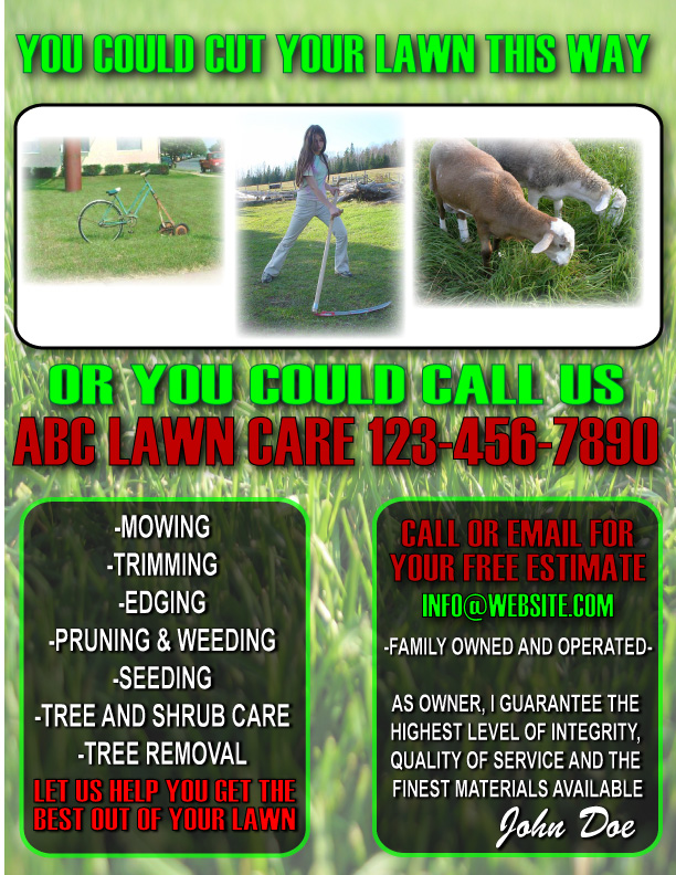 Lawn care flyer for Garden maintenance flyer template